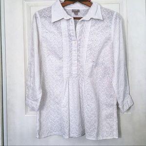 J. Jill 100% cotton Eyelet button up blouse